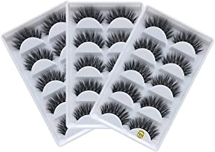 HiPretty 3D Faux Mink Lashes, Handmade Reusable 3D False Eyelashes, Wispy Long Full Natural Pack (15 Pairs/3 Pack)…
