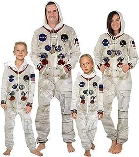 Mono de Moda Ropa de Astronauta de la NASA Adulto Niño Astronauta Estampado Onesies Disfraz de Cosplay Zip Sudadera con Capucha Mono Pijama, Adulto M