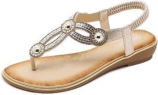 9fbf3ca31c95a Women T- Strap Thong Flat Sandals Summer Beach Crystal Flip Flops Shoes