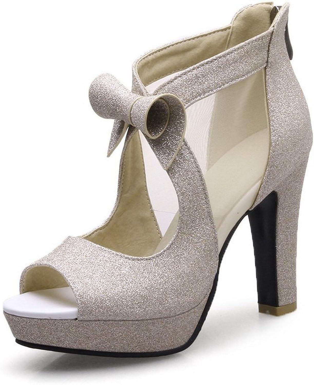 BalaMasa Womens Bows Zipper Peep-Toe Urethane Sandals