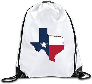 Flag Map Of Texas Drawstring Backpack Bag Gym Sack