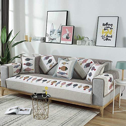 Casa Funda Protectora Sofa,Funda Antideslizante de algodón con diseño de pez, Fundas para sofá en Forma de L, Toalla Antideslizante para sofá, cómodas Fundas Protectoras para Muebles-C_Los 90