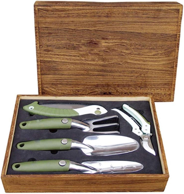 Garten-Handwerkzeug-Set, 5-teiliges Aluminium-Gartenwerkzeug-Set, Besteehend aus einer rostfreien Schaufel einer Eggenhandsge und einem robusten hlzernen Aufbewahrungskasten Geschenke für Grtner