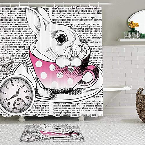 JOSENI 2-teiliges Duschvorhangset mit Rutschfester Badematte,Cartoon Kaninchen Hase in rosa Tasse Teller Löffel römische Ziffer Code Code Zeitung,12 Haken,Personalisierte Badezimmerdekoration