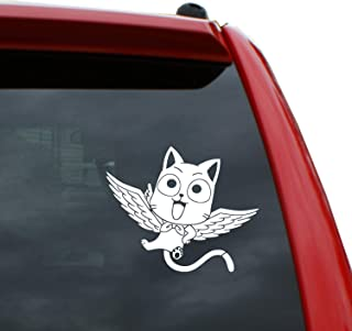 Black Heart Decals & More Fairy Tail - Happy Vinyl Decal Sticker | Color: White | 4.1