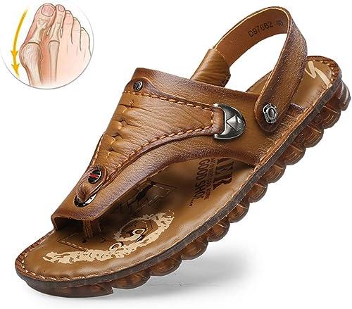WAMK Sandales en en Cuir pour Hommes pour Les randonnées Estivales Les Sandales antidérapantes pour Hommes pour Chaussures Big Toe Correction,A,41  soutenir le commerce de gros