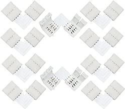 Liwinting 10pcs L forma 4pin LED conector rápido divisor de ángulo recto ángulo del conector DC 12V 24V clip corchete para SMD 5050 RGB LED Strip Lights LED Strip al adaptador Strip