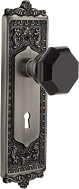 Nostalgic Warehouse 725503 Egg & Dart Plate with Keyhole Privacy Waldorf Black Door Knob in Antique Pewter, 2.75
