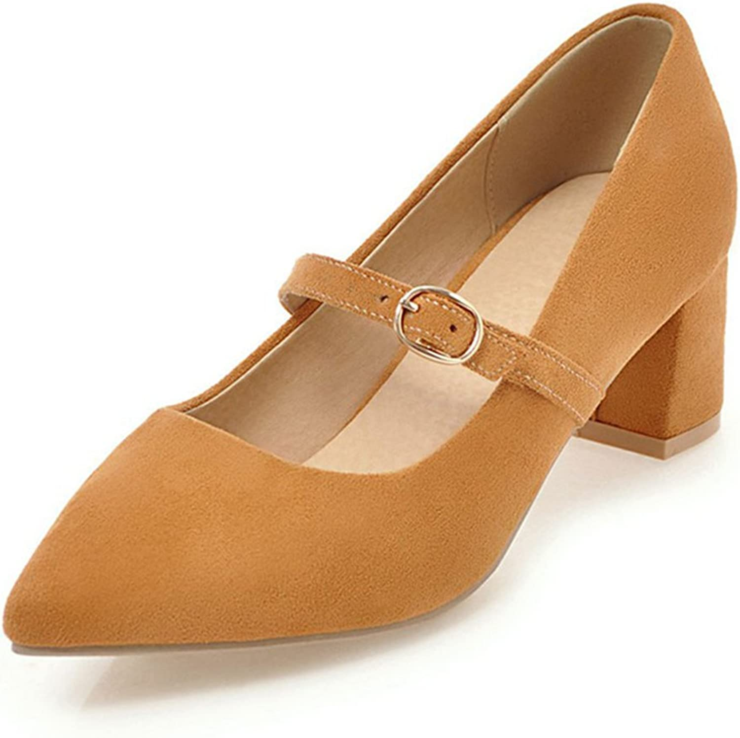 York Zhu Women Pumps, Concise Buckle Strap Square Toe Square Heel Office shoes