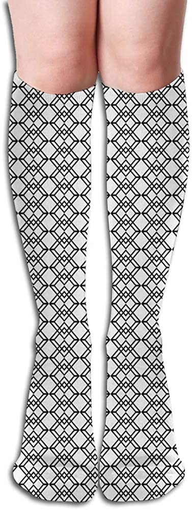Men's and Women's Funny Casual Combed Cotton Socks,Grid Style Lines Monochrome Interlace Squares Modern Digital Art Pattern