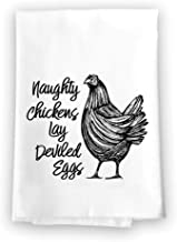 Honey Dew Gifts Funny Inappropriate Kitchen Towels, Naughty Chickens Lay Deviled Eggs Flour Sack Towel, 27 inch by 27 inch, 100% Cotton, Highly Absorbent, Multi-Purpose Towel