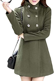 Women's Fashion Warm Long Sleeve Long Coat Double Breasted Trench Overcoat Outwear