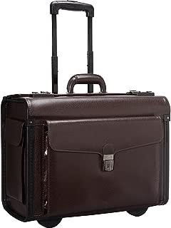 Mancini Leather Goods Deluxe Wheeled 17 Inch Laptop Catalog Case