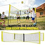 Filet de volleyball à quatre carrés, filet de volley-ball portable, filet de volleyball à quatre faces Crossnet Filet de formation de ballon de volley-ball durable Filet de jeu de badminton (100*30CM)