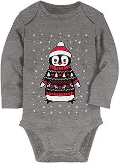 Tstars Cute Christmas Penguin Ugly Sweater for Boys and Girls Baby Long Sleeve Bodysuit