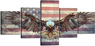 Yatsen Bridge 5 Panels American Flag Decor Bald Eagle USA Flag Canvas Wall Art Stretched by Wooden Frame Rustic American Home Decor for Living Room Bedroom Decor - 50''Wx24''H