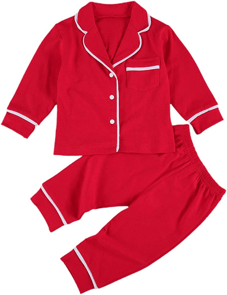 2Pcs Toddler Kids Baby Boys Girls Pajamas Set Long Sleeve Button Down Shirt Top Pants Cotton Sleepwear (Cotton-red, 6-12 Months)