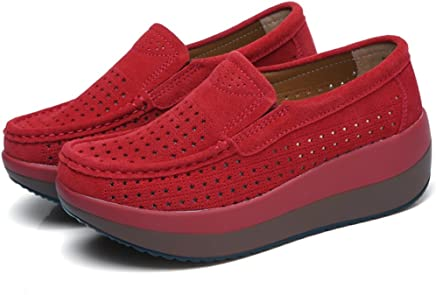 ec6e249376 Luyomy Women Hollow Platform Shoes Slip on Loafers Comfort Wedge Shoes  Moccasins Wide Low Top Sneakers
