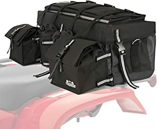 Offroading Gear ATV Rear Storage Bag with Rain Cover and Insulated Cooler Bags, Black