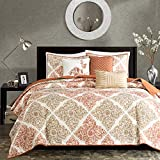 Madison Park Claire Leaf Geometric – 6 Piece Ultra Soft Microfiber Bed Quilted Coverlet, King/Cal King(104'x94'), Diamond Spice