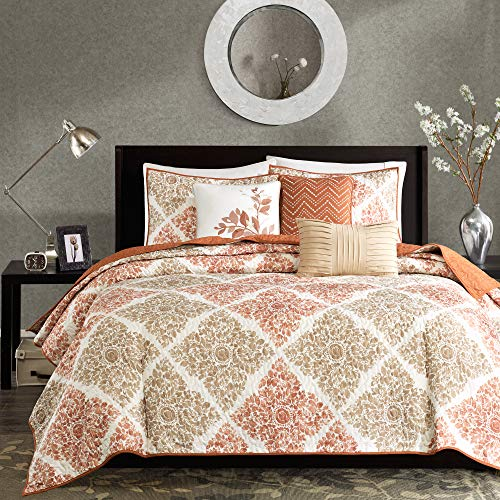 Madison Park Claire Leaf Geometric – 6 Piece Ultra Soft Microfiber Bed Quilted Coverlet, King/Cal King, Multi