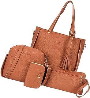 IPOTCH Ladies Handbag Ladies Bag 4 Piece Set Fashion Ladies Shoulder Bag Crossbody Bag Handbag Purse Made Of PU Leather