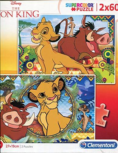 Clementoni 21604-Puzzle Supercolor Il re dei leoni, 2 x 60 pezzi, Colore Multicolore, 21604