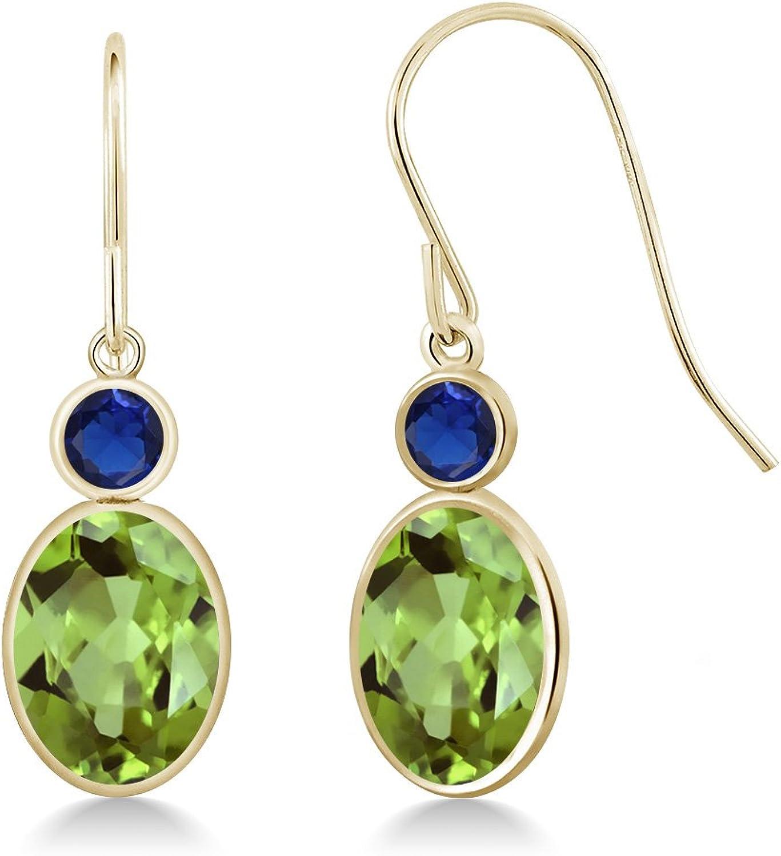 2.92 Ct Oval Green Peridot bluee Simulated Sapphire 14K Yellow gold Earrings