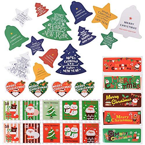 SERWOO (252Pz) 84Pz Etichette Carta Natale 168Pz Adesivi Natalizi Decorazione Natalizia Per Chiudi Buste Regalo Sacchetti Scatole Scatoline Bomboniere