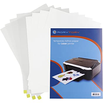 Amazon Com Rorytory 4 Pack Fake Temporary Tattoo Paper A4 Size 11 7 X 8 3 In For Laser Printers Easy Diy Custom Printable Water Transfer Body Art For Kids Adults
