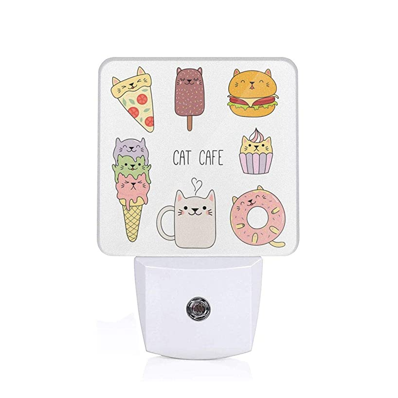 Colorful Plug in Night,Cats Cafe Hand Drawn in Food Illustration Pizza Ice Cream Cupcake Sweetness Theme,Auto Sensor LED Dusk to Dawn Night Light Plug in Indoor for Childs Adults