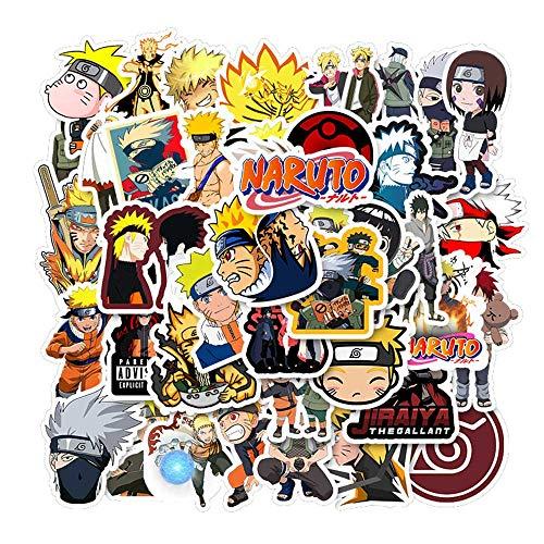 KOWASO 50 Stück Naruto Laptop Aufkleber Anime wasserdichte Aufkleber für Skateboard, Gepäck, Helm, Gitarre
