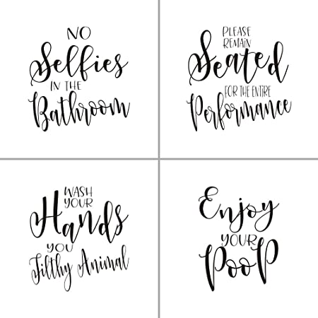 Moharwall Set Of 4 Bathroom Quotes Wall Art Decal Saying Stickers Removable Vinyl Decal Decor Kitchen Dining