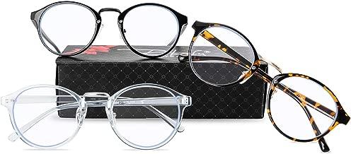 RTBOFY Blue Light Blocking Computer Glasses Women Men Ultralight Round Eyeglasses Frame Blue Light Filter Glasses (Leopard+Transparent Blue+Black)
