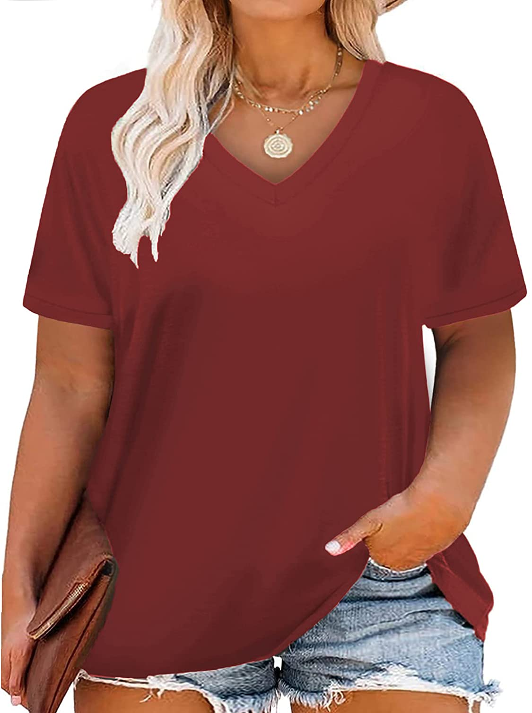 VISLILY Women Plus-Size Tops V Neck T Shirts Casual Summer Tunics Tee