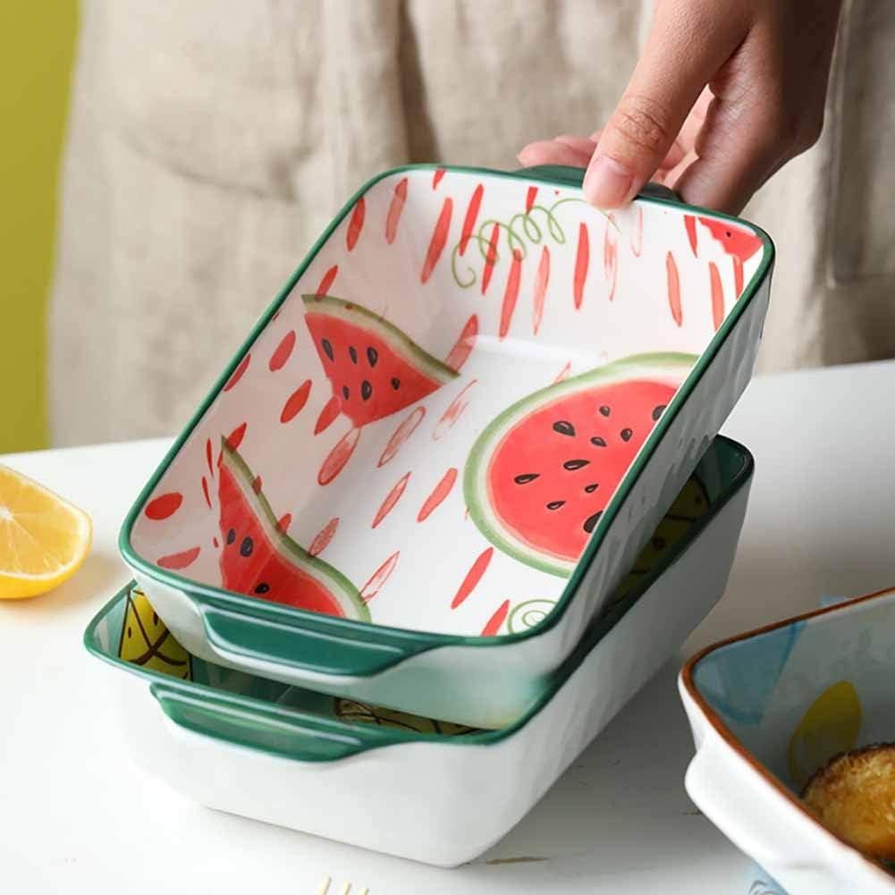 Plat En Céramique Plat De Cuisson De 14 Pouces Avec Poignées En Céramique For Cuisine À Domicile 22X16X6cm cadeau (Couleur : B) A