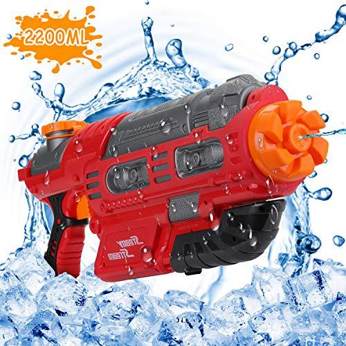 EKKONG Wasserpistole, 2200ML Wasserpistolen groß mit 10 Meter Reichweite für Kinder und Erwachsene Sommerpartys im Freien, Strand, Pool, Garten Strandspielzeug (Rot-Schwarz)