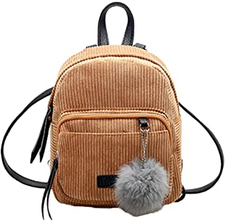 Shybuy Womens Casual Style Lightweight Corduroy Mini Purse Backpack School Bag Travel Daypack with Cute Fur Ball