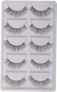 Generic Handmade Natural False Eyelashes Messy Cross Eye Lashes White Stem - 5 Pairs