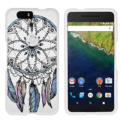 TurtleArmor | Compatible with Huawei Nexus 6P Case | Google Nexus 6P Case [Slim Duo] Two Piece Hard Cover Slim Snap On Case on White - Dreamcatcher Feathers