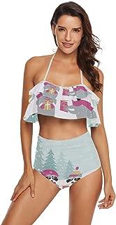 Cute Raccoons Gifts Womens 2 Piece Swimsuit Flounce Swimwear Halter Tankini Bikini