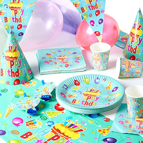 Matana - 222 Piece Kids Birthday Tableware Party Set - Caters for 40 Guests