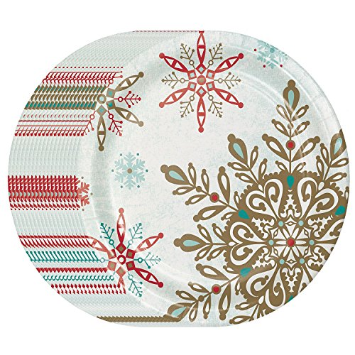 Christmas Party Snowflake Paper Plates