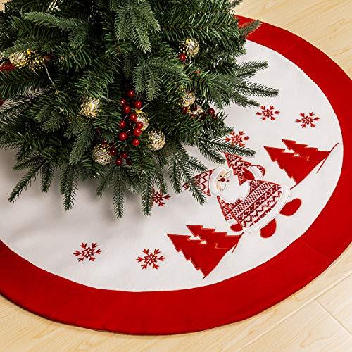 GIGALUMI - Falda para árbol de Navidad (90 cm, terciopelo), diseño de Papá Noel, color blanco