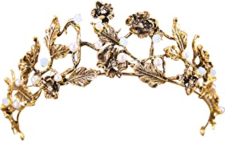 Or JUNGEN Bijoux de t/ête Feuille dalliage Mariage Bandeaux Cheveux Couronne Diad/ème Cristal Serre-t/ête Couvre-chef decoration mariage F/ête Soir/é 50cm