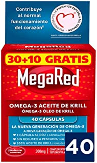 Megared Omega 3 - Aceite de Krill Complemento Alimenticio sin Regusto a Pescado 30+ 10 cápsulas gratis