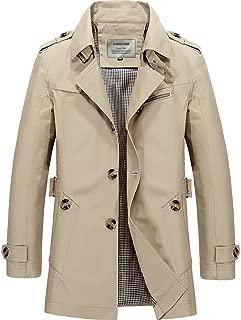 Men's Windbreaker Notch Lapel Single Breasted Coat