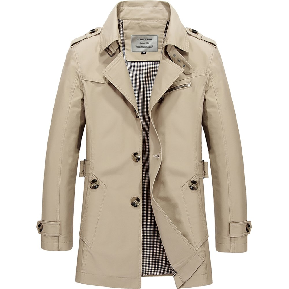Wantdo Mens Cotton Single Breasted Trench Jacket