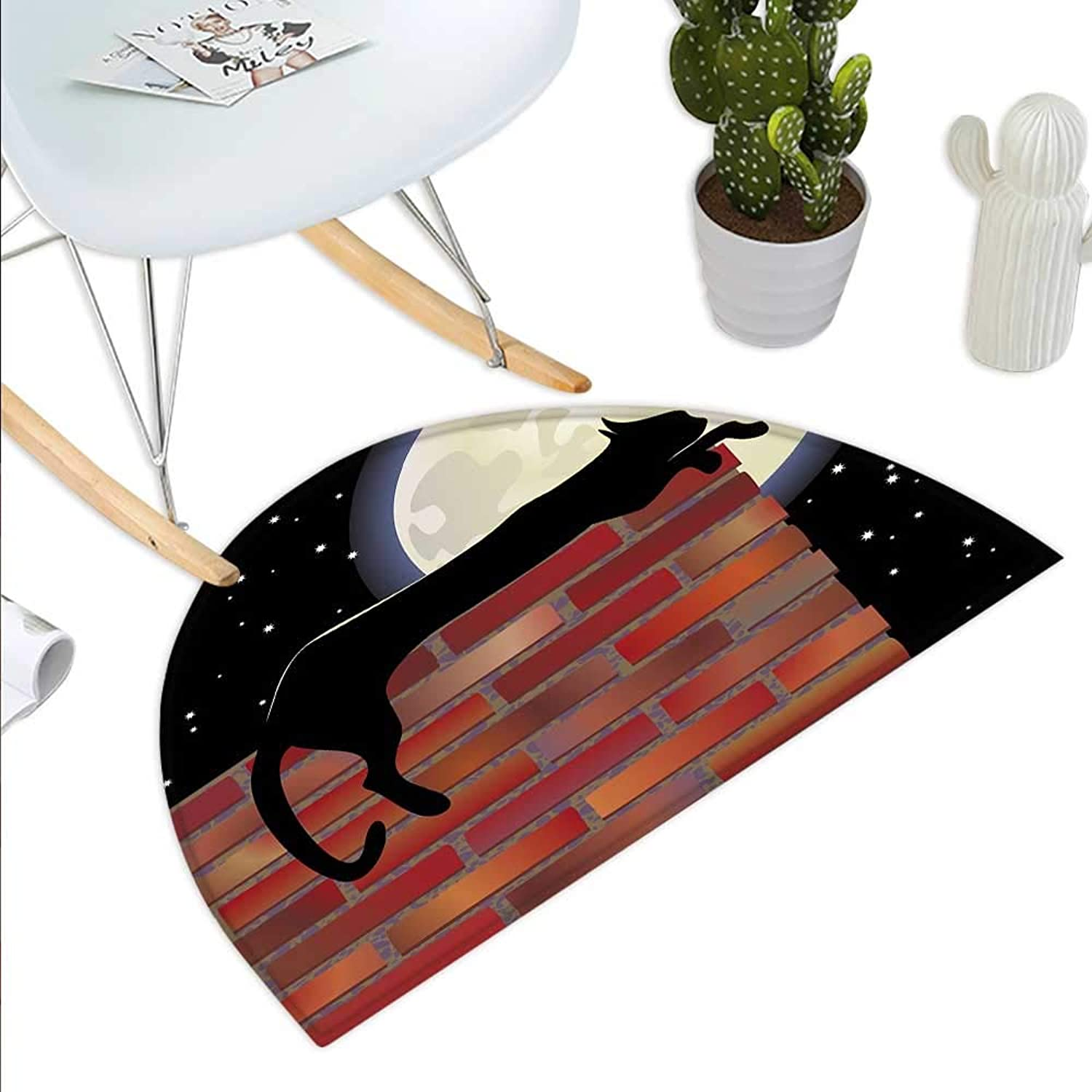 Moon Semicircle Doormat Cat Silhouette Resting on a Brick Wall in a Starry Night Full Moon Imagery Halfmoon doormats H 43.3  xD 64.9  Black Ivory Vermilion