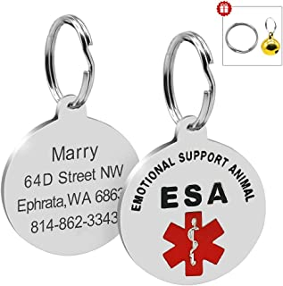 Beirui ESA Dog ID Tags for Dogs - Personalized Engrave Stainless Steel Dog ID Tags Switch to Collars and Vest - Custom Pet ID for Small Medium Large Emotional Support Dogs